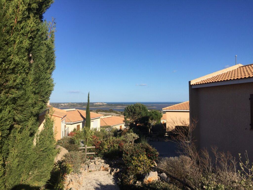 Utsikten mot Middelhavet, fra huset vårt i Fitou