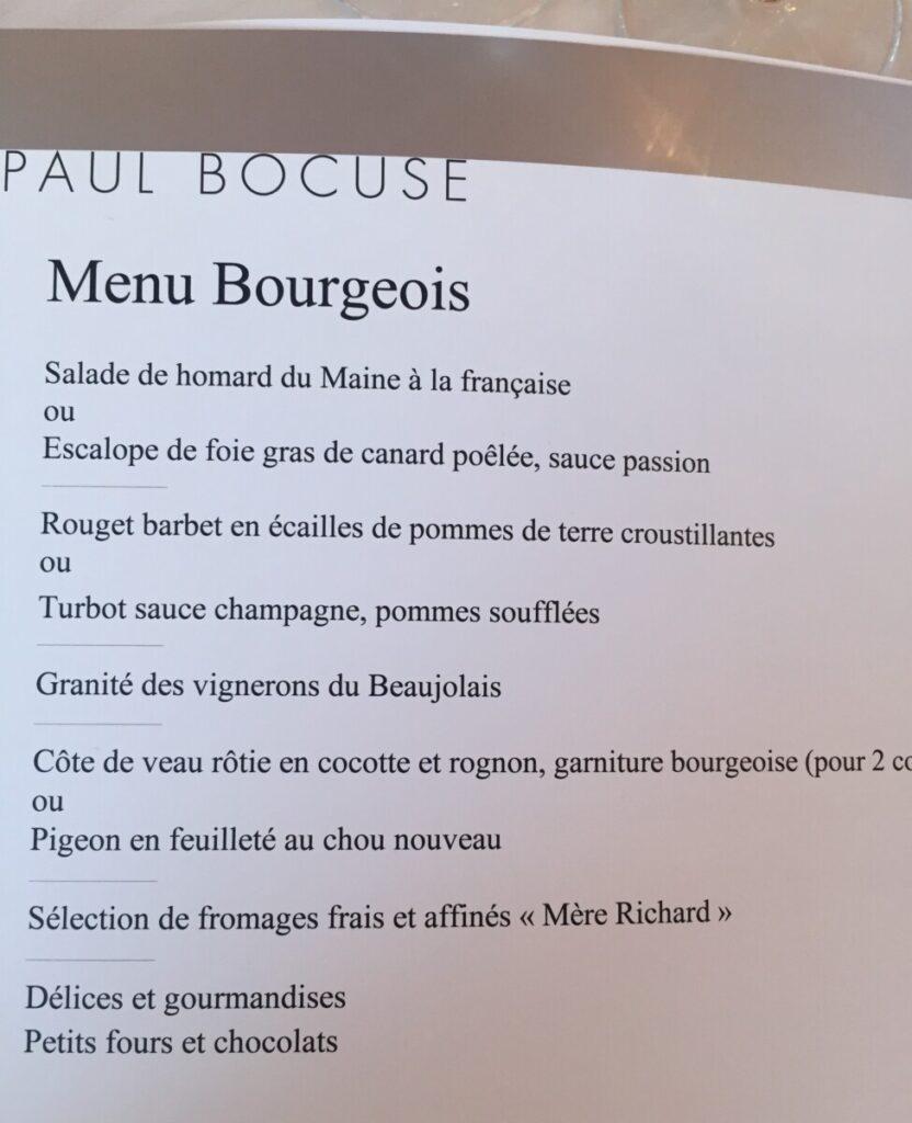 Lunsjmenyen hos Paul Bocuse