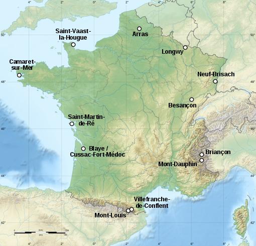 Kart over de 12 Vauban-fortene på UNESCOs verdensarvliste_Wikipedia